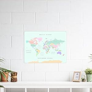 Miss Wood Watercolor Retro L Mapa de Corcho, Madera, Multicolor, L (45 x 60 cm)