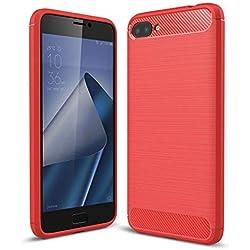 """Coque Asus Zenfone 4 Max ZC520KL (5.2""""), SMTR Ultra-mince Coque Matériau en silicone Housse Etui [Technologie avancée d'absorption de choc] - Rouge"""