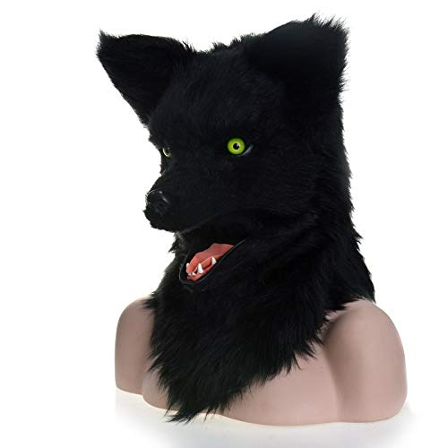 Be82aene Serie Fursuit Karneval Moving Mouth Mask Black Wolf Simulation Tier Maske für Party Tier Nase Maske, Schwarz, 25 * 25