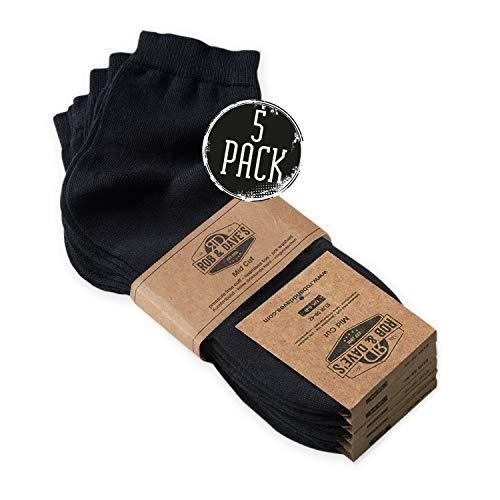 Top Socken (Rob & Dave's Mid Cut Socken - 5 Paar - TOP ÖKO TEX Qualität - für Damen & Herren - nahtlose Quarter in schwarz - ohne drückende Naht - mit venenfreundlichem Komfort-Bund)