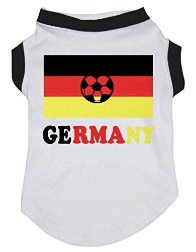 Petitebelle Puppy Hund Kleidung Deutschland National Flagge Fußball weiß Baumwolle Shirt
