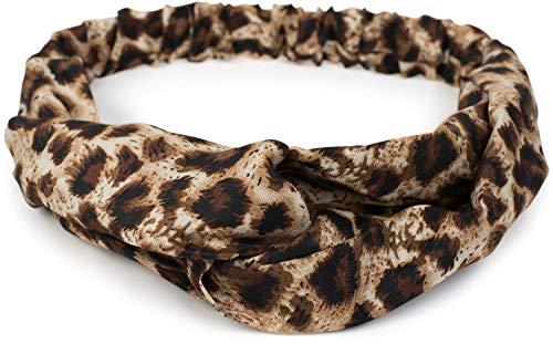 styleBREAKER Damen Haarband mit Leo Animal Print, Twist Knoten und Gummizug, Stirnband, Headband 04026020, Farbe:Braun-Beige