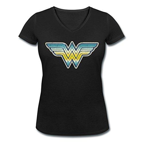 DC Comics Originals Wonder Woman Logo Dégradé T-shirt col V Femme de Spreadshirt® Noir