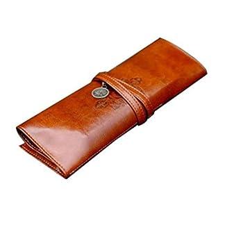 fablcrew enrollable Estuche portátil de piel sintética Vintage pluma bolsa de maquillaje bolsa de bolsillo soporte marrón
