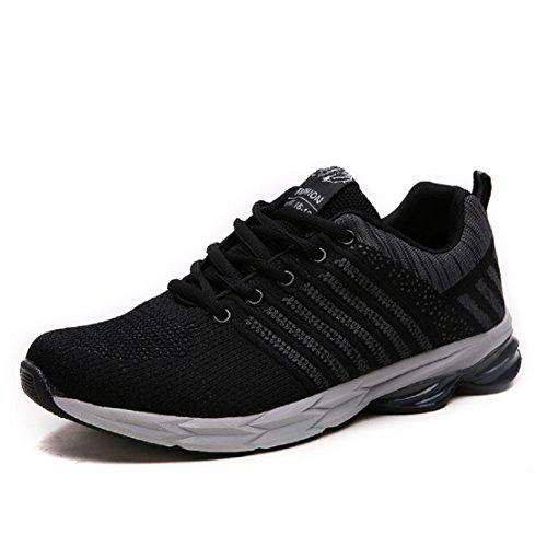 ZapatillasRunningpara Hombre Aire Libre y Deporte Transpirables Casual Zapatos Gimnasio Correr Sneakers Gris 44