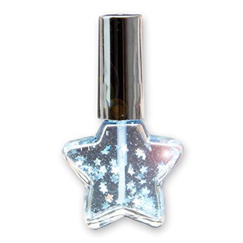 10 X XMAS Nagelöl für Weihnachten Nagelöl im Sternfläschchen mit Mesh-Beutel, 10ml Blau - 10er Set