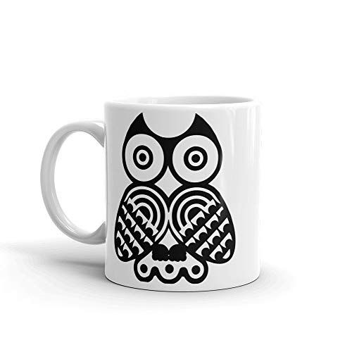 EstherBur87 Schwarze Eule Kaffee MugOwl Schwarzes Muster Grafik Animal Print Mug Gro?e Geschenkidee f¨¹r Eulenliebhaber Kaffee DrinkersTea Bar Mug - Becher Kaffee Animal-print