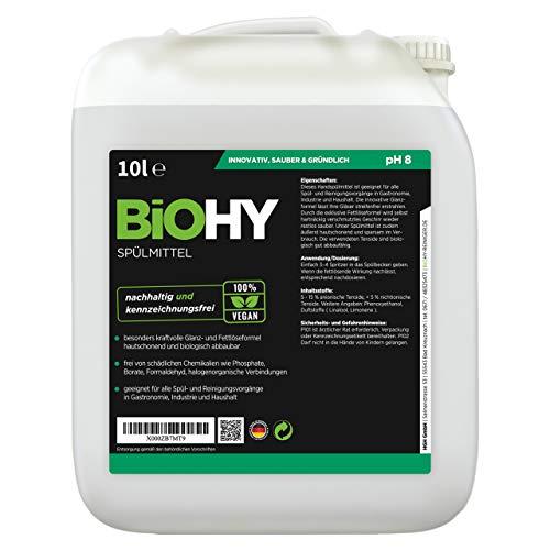 BIOHY Profi Spülmittel 10 Liter Kanister | Frei von schädlichen Chemikalien & biologisch abbaubar | Innovative Glanz- & Fettlöseformel | Für Gastronomie, Industrie und Haushalt geeignet