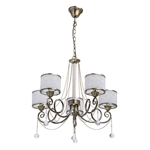 MW-Light 372013405 Eleganter Kronleuchter 5 Flammig Messing Kristall Glasschirm -