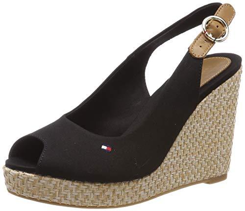 Tommy Hilfiger Damen Iconic Elena Basic Sling Back Slingback Sandalen, Schwarz (Black 990), 39 EU - Sandalen Schuhe Wedges Frauen