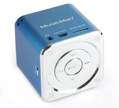 MusicMan Mini Soundstation (MP3 Player, Stereo Lautsprecher, Line In Funktion, SD/microSD Kartenslot) blau