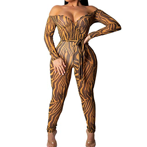 Damen Lange Ärmel Schulterfrei Jumpsuit Yogogo Leopard Druck Overall Hose Lang Strampler Bodysuit V-Ausschnitt Playsuits Sommer Yoga Leggings Sexy 3/4 Sport Workout Slim Fit Leggins Dünne Sporthose