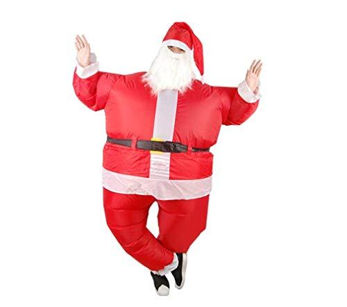 AMhuui Aufblasbares Weihnachtsmann-Kostüm, erwachsenes Weihnachtsmann-Abendkleid-Kostüm-Weihnachtsaufblasbares Cosplay-Partei-Spaß-Ereignis-Leistungs-Spielzeug (Alte Tv-shows Halloween-kostüme)