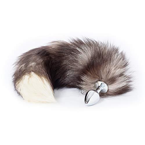 Unique Pleasure Fuchsschwanz/Foxtail Analplug aus echtem Fell - Durchmesser 34mm - Hochwertiger Edelstahl Buttplug - Einzigartige Nächte für Frauen, Männer und Paare (34mm, grau/braun)