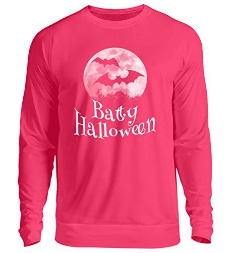 Shirtee Batty Happy Halloween - gruselige Fledermäuse vor stylischem Vollmond an Samhain - Unisex Pullover -S-Hot Pink (Happy Halloween Shot)