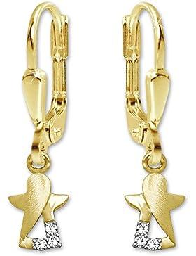 CLEVER SCHMUCK Goldene Ohrhänger 23 mm mit Engel 8 mm matt und glänzend mit 3 Zirkonia stilisiert teils offen...