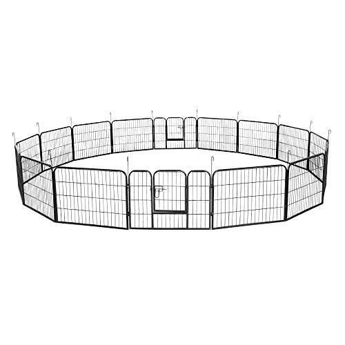 Aufun 16-TLG Welpenauslauf Freilaufgehege 80 x 60 cm - Tierlaufstall für Hunder Kaninchen kleintiere (80 x 60 cm, 16 Stück)