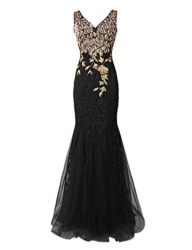 Dresstells Damen Luxuriöse Königliche Ballkleider Pfau Abendkleider Schwarz