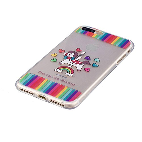iPhone 7 Plus Hülle, Voguecase Silikon Schutzhülle / Case / Cover / Hülle / TPU Gel Skin für Apple iPhone 7 Plus / iPhone 8 Plus 5.5(Kaktus 02) + Gratis Universal Eingabestift Regenbogenpferd