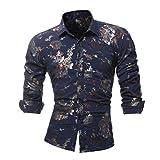 BaZhaHei Herren Sommer Persönlichkeits-Druck-beiläufige beiläufige dünne Lange Hülsen-Gedruckte Hemd-Spitzen-Bluse Drucken Lange Ärmel T-Shirt