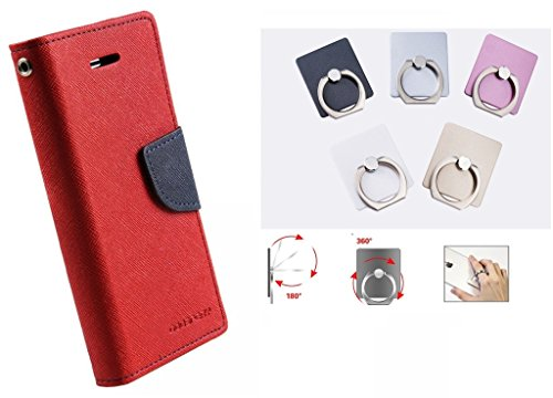 Annant Mercury Goospery Fancy Diary Card Wallet Mobile Flip Case Back Cover for Samsung i9082 Galaxy Grand OR Grand Neo OR Grand Neo Plus OR 9080 OR GT-9060 (Red) + 360° Rotate Metal Mobile Holder Finger Ring  available at amazon for Rs.269