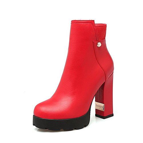 Odomolor Damen Gemischte Farbe PU Leder Hoher Absatz Ziehen auf Spitz Zehe Stiefel, Rot, 36
