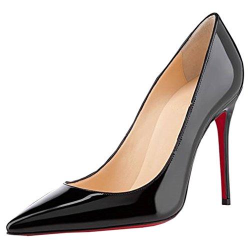 ENMAYER Femmes en cuir Verni Sexy Pointe Talon Talons Hauts Party Mariage Chaussures Court Slip sur les Pompes Noir