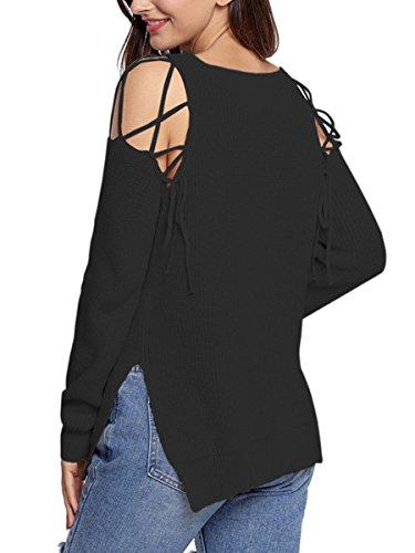 Summer Mae Damen Sexy V Ausschnitt Langarm Übergroßer Strickpullover Sweater Weiß 3