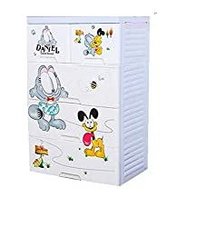 TheTickleToe Thickened Plastic Disney Cartoon Chest of Drawers Closet Wardrobe Organizer Kids Boy Girl Room Baby Nursery Decor DIY 4 Layers Drawers with 2 Locks Blue