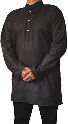 Indische Bekleidung Fashion Shirt Mens Short Kurta Cotton Indischen Kleid Schwarz