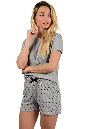 DESIRES Penelope Damen Schlafanzug Pyjama Nachtwäsche Kurz Zweiteilig, Größe:M, Farbe:Light Grey Mel (8242)