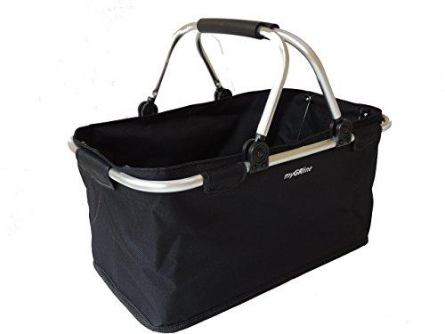 Faltbarer Einkaufskorb, platzsparend, leicht, stabil; Tragegewicht 25 kg, Fassungsvermögen 25 l, schwarz. Damit wird Einkaufen zum Vergnügen. Mit 6 cm Höhe gefaltet, ist er einfach zu verstauen.