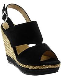Xianshu Neue Keilabsatz Sandalen Hohe Wasserdichte Plattform Eine Wort Schnalle Stroh Dicke Damen Schuhe