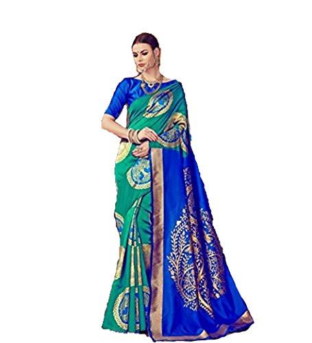 Bollywood Indian Traditional Collection Party Wear Cotton Silk Saree Sari,Function, Karneval, Birthday Dress, Geburtstag, Indische Kleid,Hippie Kleid - golden Border Bottle Green (Green- Blue) Blue Silk Sari Saree