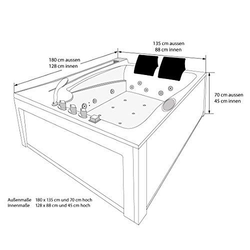 Whirlpool Vollausstattung Pool Eckwanne Wanne A612H-A Reinigungsfunktion 135×180, Selfclean:ohne +0.-EUR, Sonderfunktion2:Ring-Zirkulation +30.-EUR - 4