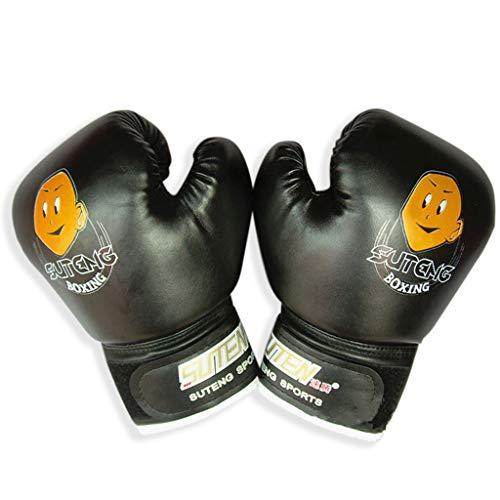 Yanhonin Gants de Boxe pour Enfants 3-12 Ans en Cuir Sports Gants de Combat de Boxe Anti-Choc pour l'entraînement (Noir)