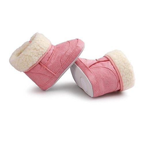 Covermason Baby Mädchen Jungen weiche Sohle Kleinkind Schuhe Krippe Schuhe Baumwolle Schneestiefel Rosa