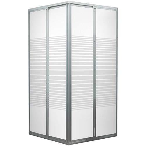 Accès d'angle extensible avec portes de douche coulissantes, 75 - 88 x 175 cm, verre de sécurité, décor rayures horizontales, profilés en alu nature