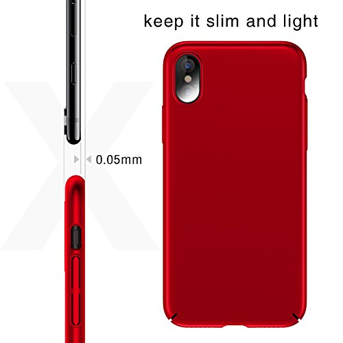 Coque iPhone X, TORRAS Ultra Fine Case, Anti-Rayures Mince Protection Cover pour Apple iPhone X (2017) - Noir Rouge