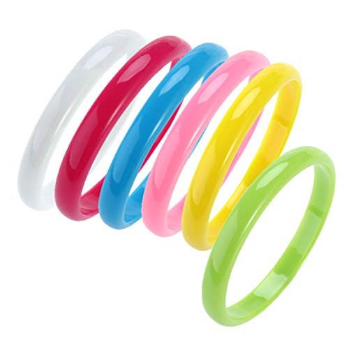 6 x Plastic Bangle Bracelets in Candy Colours