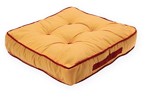 Mit Knöpfen Gelbe Kissen (Matratzenkissen Bi Color Sitzkissen Sommer Stuhlkissen Kissen Auflage ca. 40x40x8 cm #1544 gelb)
