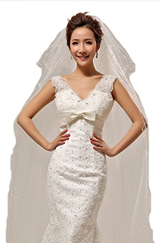 Jasno velo da sposa lungo pendente a 3 strati in tulle a strati con pettine in metallo perlato abbellimento bianco avorio