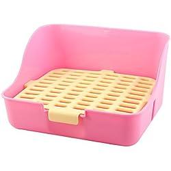 DealMux de plástico cubierta de malla rectangular conejo animal doméstico del estilo del gato del perro de formación higiénico rosado amarillo para ir al baño