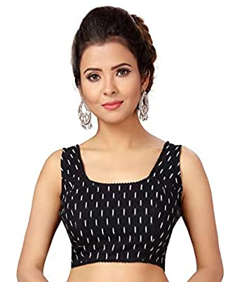 STUDIO Shringaar Women's Black Ikat Cotton Sleeveless Saree Blouse