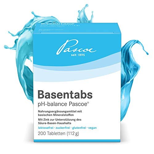 Pascoe® Basentabs pH-balance Pascoe: für den Säure-Basen-Haushalt, mit Magnesium, Zink, Calcium, 100% vegan, 200 Tabletten -