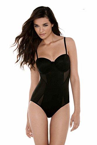 Body wrap - body mailla coppe modellate ferretto cinghie rimovibili donna - nero luccicante - 40/42 - s