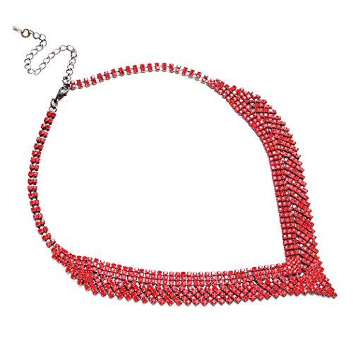 Mondora Party V-Shape Aussage Halskette Dame Österreichischen Kristall Schwarz-Tone Rubin Farben
