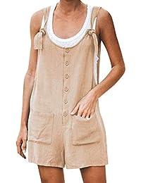 Mxjeeio��Monos Cortos Mujer de Verano Mono de botón Casual de Bolsillo para Mujer Mamelucos de Lino con Correa de Espagueti Vintage Pantalones Anchos Mujer 2020 Mujer costos