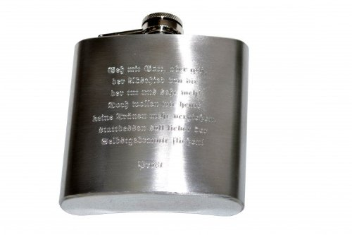 Flachmann aus Edelstahl 6oz in Chrom gebürstet wahlweise mit Gravur, Gravur:Text und / oder Motiv vorne