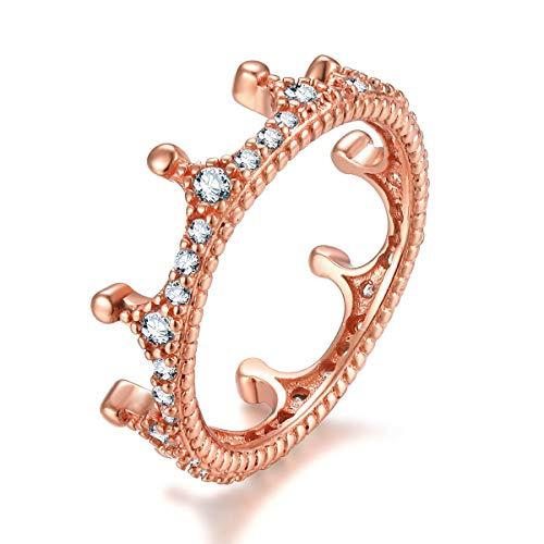 Qings 925 Sterling Silber Damen Ring, Rose Gold Kronen Ring mit Zirkonia Simulierte Diamond Geschenke für Damen Frauen Mädchen
